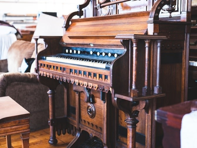 Antique brown wooden piano