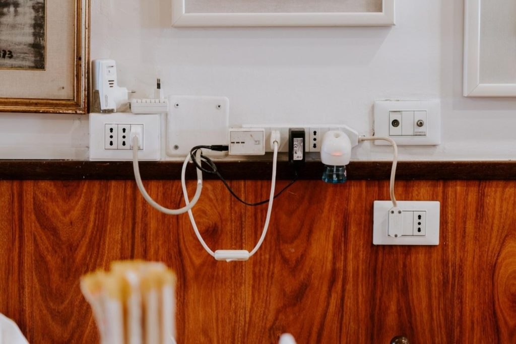 Many outlets in a wall